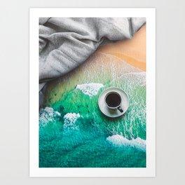 Beach And Coffee Art Print
