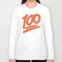 emoji Long Sleeve T-shirts featuring 100 EMOJI by Nolan Dempsey