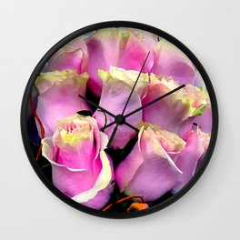 Bright Pink Rose Buds Exotic Floral Bouquet Wall Clock