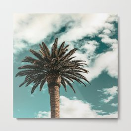 Lush Palm {1 of 2} / Teal Blue Sky Tree Leaves Art Print Metal Print
