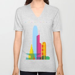 Shapes of Hong Kong. Accurate to scale Unisex V-Neck