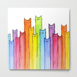 Rainbow of Cats Funny Whimsical Animals Metal Print