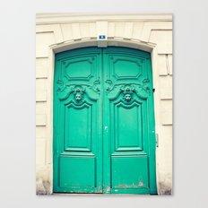 Paris door, turquoise Canvas Print