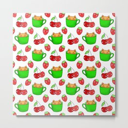 Cute happy playful funny Kawaii baby kittens sitting in little green espresso coffee cups, sweet ripe yummy red summer cherries and strawberries fruity white design. Metal Print
