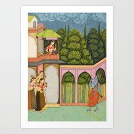 Krishna Approaches Radha - 17th Century Classical Hindu Art Art Print