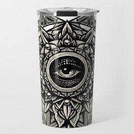 Sacred Geometry Seraphim Star Mandala White Travel Mug