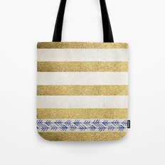 Gold Stripes Tote Bag