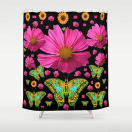 FUCHSIA PINK COSMO FLORALS GREEN MOTHS Shower Curtain