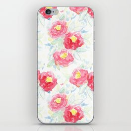 Abstract Watercolour Painted Pink Peonies iPhone Skin
