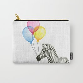 Zebra with Balloons Watercolor Baby Animals Carry-All Pouch