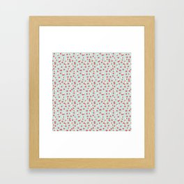 English Rose Pattern on Blue Framed Art Print