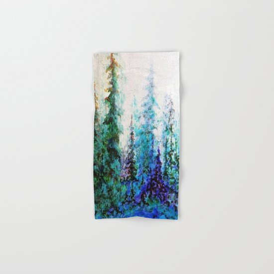 Mountain Landscape Pines In Blue-Greens-Purple Hand & Bath Towel