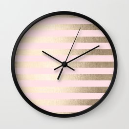 Stripes White Gold Sands on Pink Flamingo Wall Clock