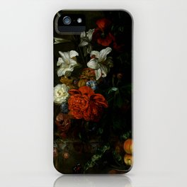 """Ernest Stuven """"Poppies, lilies, roses and other flowers in a glass vase on a draped marble ledge"""" iPhone Case"""
