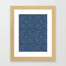 Traditional Indigo Blue Japanese Needlework Illustration Framed Art Print