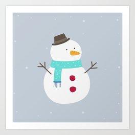 Snow winter man Art Print