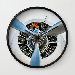 Legendary Vintage Aircraft Engine And Propeller On White Wall Clock