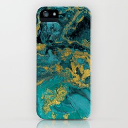Abstract Pour Painting Liquid Marble Black Blue Teal Painting Gold Accent iPhone Case