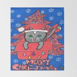 CHRISTMAS CAT 001 Throw Blanket