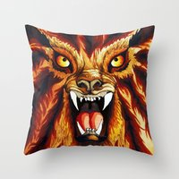 werewolf Throw Pillows featuring Werewolf by BluedarkArt