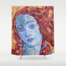Variations On Botticelli's Venus - No. 3 (Primary Colors) Shower Curtain