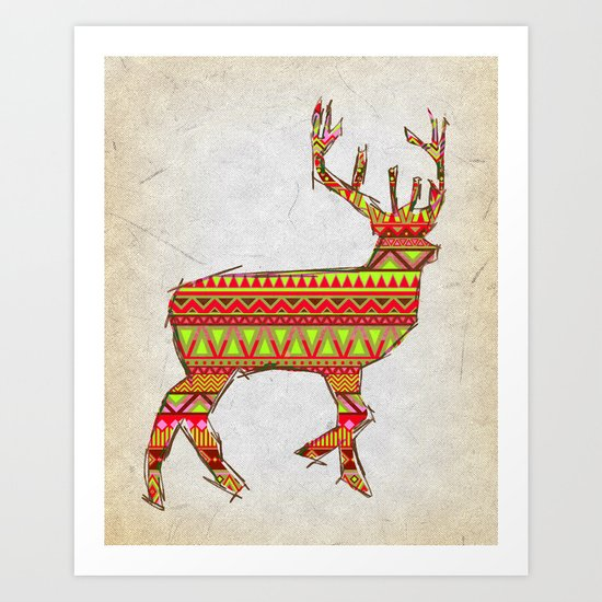Deer Navajos - christmas pattern Art Print