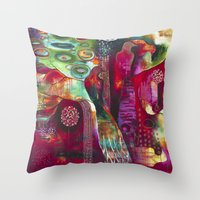 "flora bowley Throw Pillows featuring ""True Nature"" Original Painting by Flora Bowley by Flora Bowley"