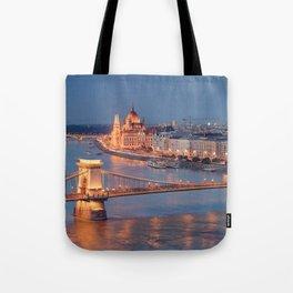 Chain Bridge at Dusk. Budapest. Tote Bag
