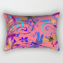 Decorative Abstract Blue Dragonflies Nature Landscape Rectangular Pillow