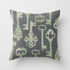 Skeleton Key Pattern in Gray Throw Pillow
