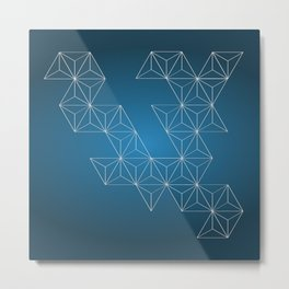 White abstract geometric triangle pattern on blue background. Metal Print