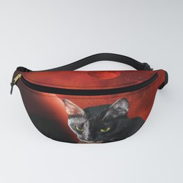 Black Cat and Planet Fanny Pack