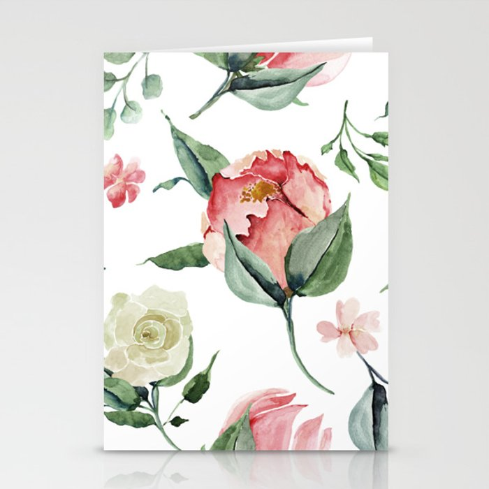 Pink White Peony Roses Watercolor Floral Pattern Stationery Cards
