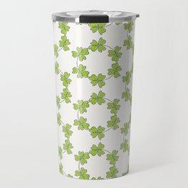 four-leaf clover leaves pattern Travel Mug