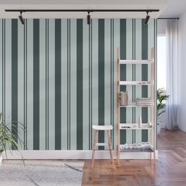 Night Watch Color of the Year Thick and Thin Vertical Stripes on Cave Pearl Light Mint Green Wall Mural