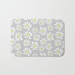 simple daisies on gray Bath Mat