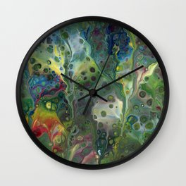 Moody Green Abstract Acrylic Painting Wall Clock