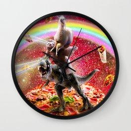 Laser Eyes Space Llama On Sloth Dinosaur - Rainbow Wall Clock