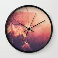 dream catcher Wall Clocks featuring Dream Catcher by Whitney Retter
