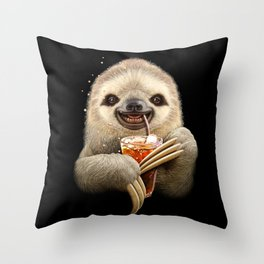 SLOTH & SOFT DRINK Throw Pillow