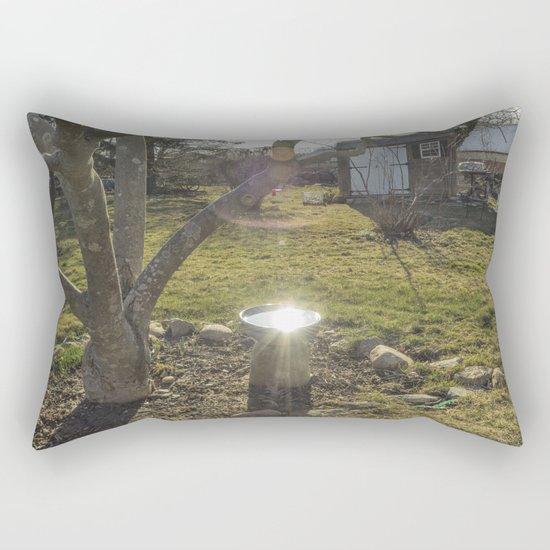 Birdbath Reflections Rectangular Pillow
