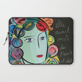 Girl with Flowers and Fruits in her hair Laptop Sleeve