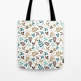 Assorted Leaf Silhouettes Teals Brown Gold Cream Ptn Tote Bag
