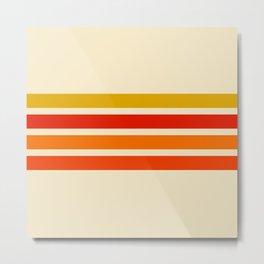 Abstract Minimal Retro Stripes 70s Style - Nagatane Metal Print