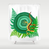 lizard Shower Curtains featuring Lizard by sebos