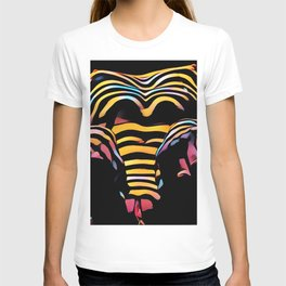 1276s-MAK Intimate Nude Abstraction Striped Torso With Hands On Thighs T-shirt