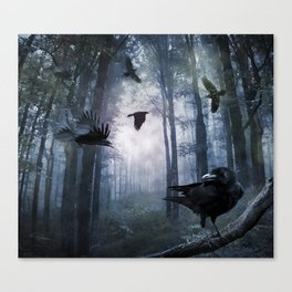 Misty Forest Crows Canvas Print