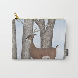 white-tailed deer & chickadees in the forest Carry-All Pouch