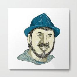 Hipster Wearing Fedora Hat Smiling Drawing Metal Print