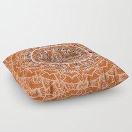 Detailed Burnt Orange Mandala Floor Pillow